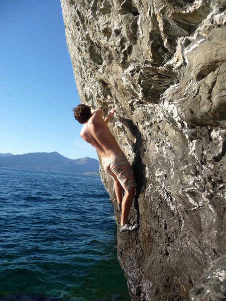 Rock Climbing Photo: Water solo route at the Boneyard