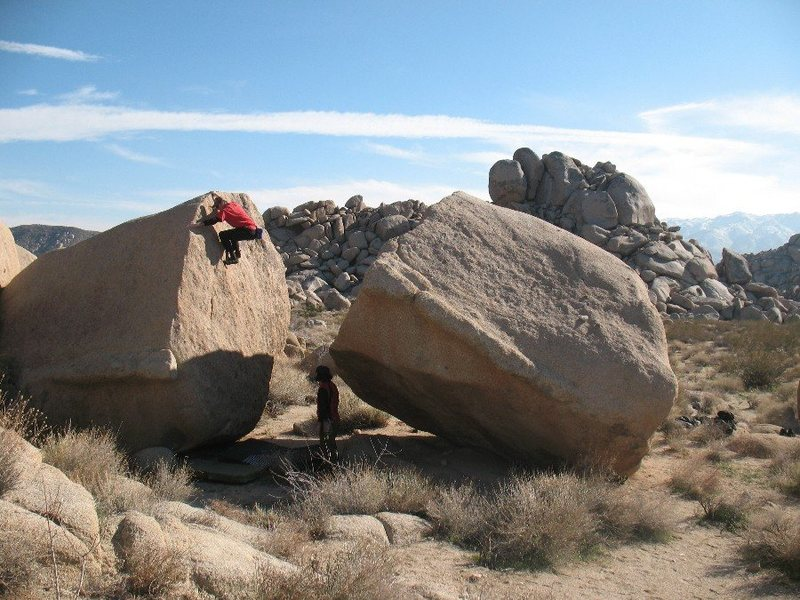 Near the top of Ladies Helper (V0), Joshua Tree. <br>
