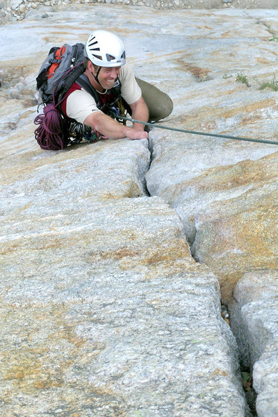 Matt Grieger climbs the spectacular 2nd pitch of Central Pillar of Frenzy, Yosemite.