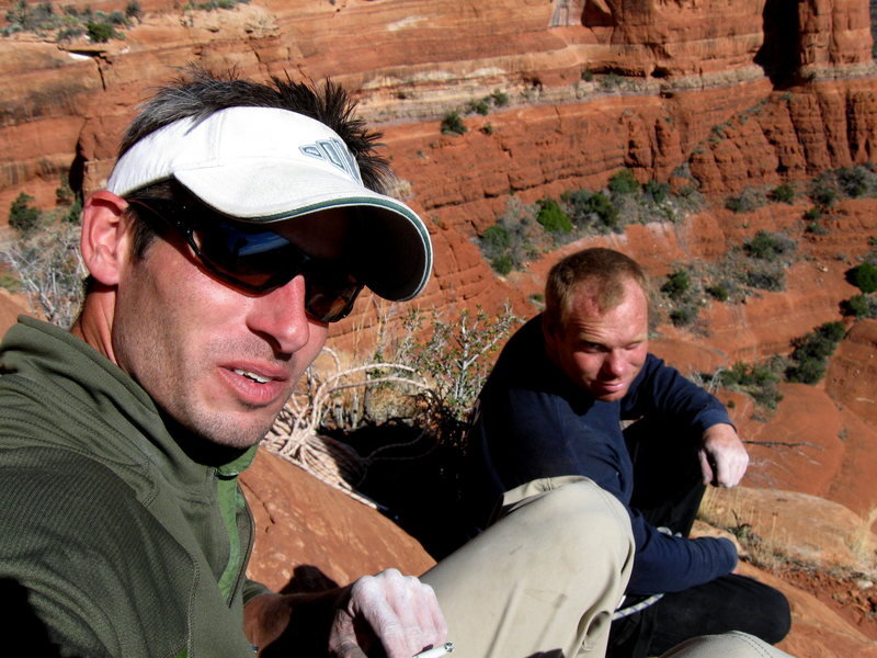 Kev and I at the third belay on Flip Wilson, Courthouse Butte, AZ