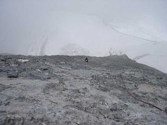 Rock Climbing Photo: Coming up to the Mittellegi hut from the Eismeer g...
