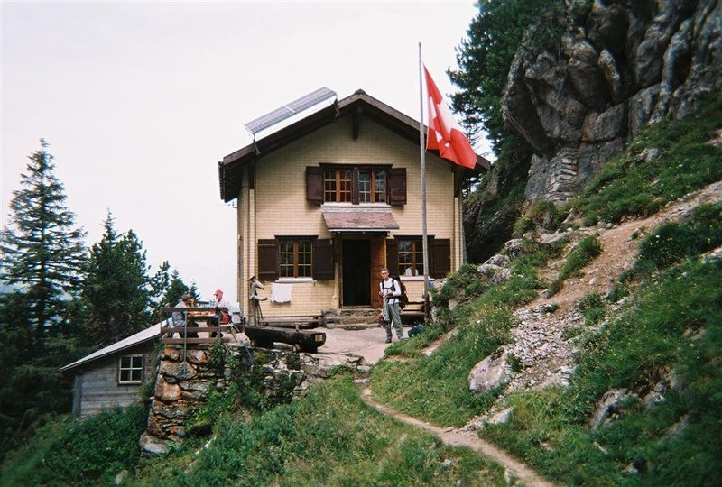 Engelhorner hut.  One of many great Swiss huts right next to the climbing area.