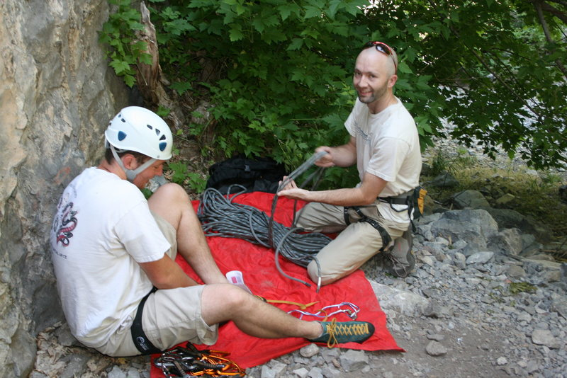 Rock Climbing Photo: Getting psyched to try my new comfy shoes.