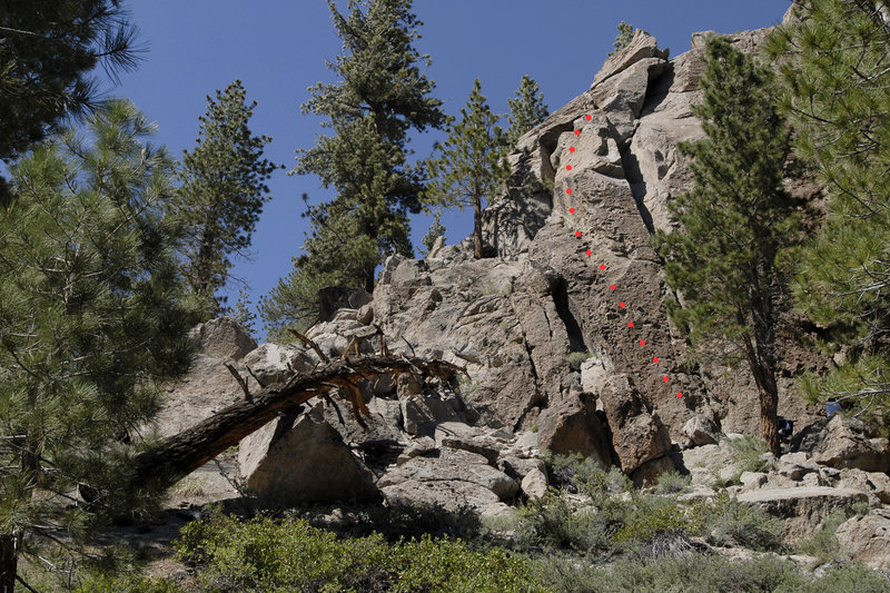 Rock Climbing Photo: Route topo for Exqueeze Me, at Clark Canyon