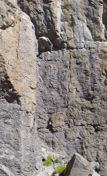 Rock Climbing Photo: Some guy at the top of 'Sendero Luminoso' (upper l...