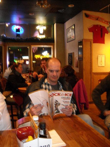 Tim reading between beers.