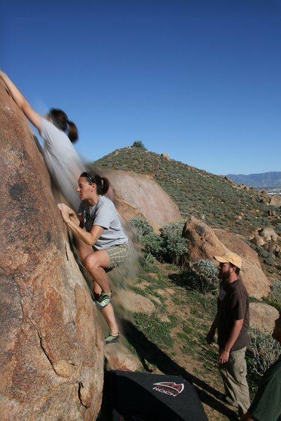 Agina Sedler bouldering at Mount Rubidoux.