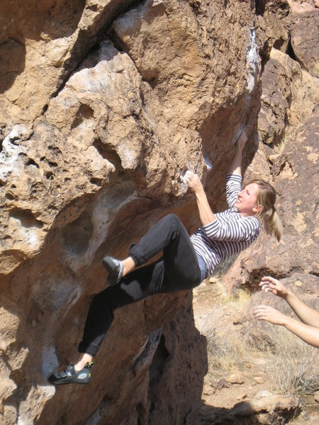 Rock Climbing Photo: Heather battling Serengetti.