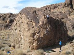 Rock Climbing Photo: The Serengeti Boulder, with Heather topping out th...