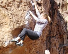 Rock Climbing Photo: Heather sticks the crux of Serengeti...so strong s...