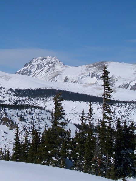 South Arapaho, winter, viewed from the south-southeast. Skywalker Coluoir visible below summit. Recent snow makes coverage look more generous than it typically is in midwinter.