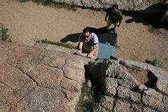 Rock Climbing Photo: Looking down Beehive crack at Agina coming up.