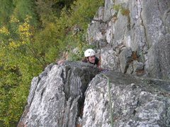 Rock Climbing Photo: Leslie on the crux of Oldman's Route. Many people ...