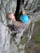 Rock Climbing Photo: Luke pulling on a loose block near the top of the ...
