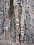 Rock Climbing Photo: A photo of the whole route - here, clipping the ch...