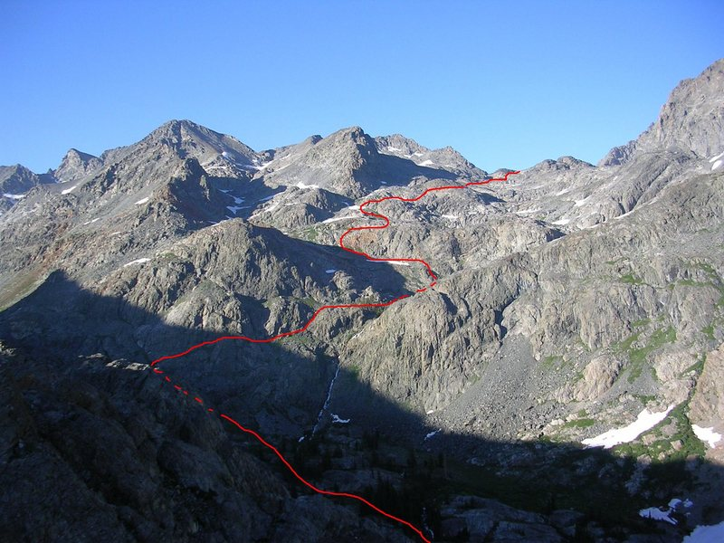 The route from North Glacier Pass down to Twin Island Lakes.  No easy meadows here.