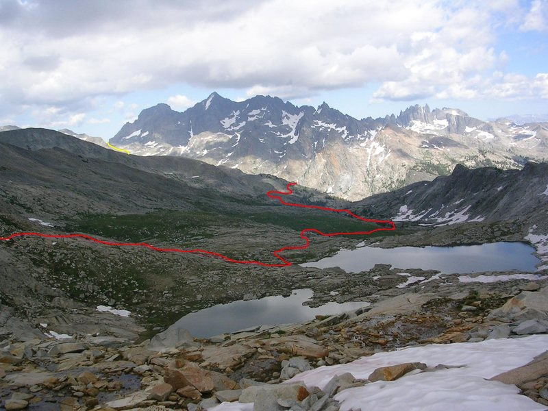 Looking across Blue Lakes to the Ritter Range.  <br> <br> The Yellow line is North Glacier Pass, below Banner. Red is our route from the Twin Island Lakes to a rough pass across the &quot;Yosemite National Park Border Range&quot;