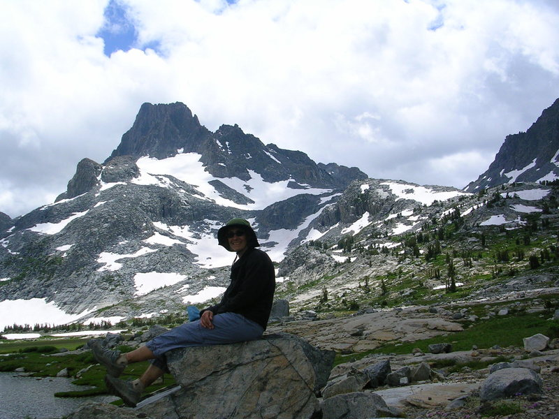 Banner Peak, 12,945' (3943m), and Thousand Island Lake.  <br> <br> Marsha and I hiked from June Lake to Yosemite Valley.  Thanks to the Yosemite Area Regional Transportation (YART) arranging a shuttle unnecessary.