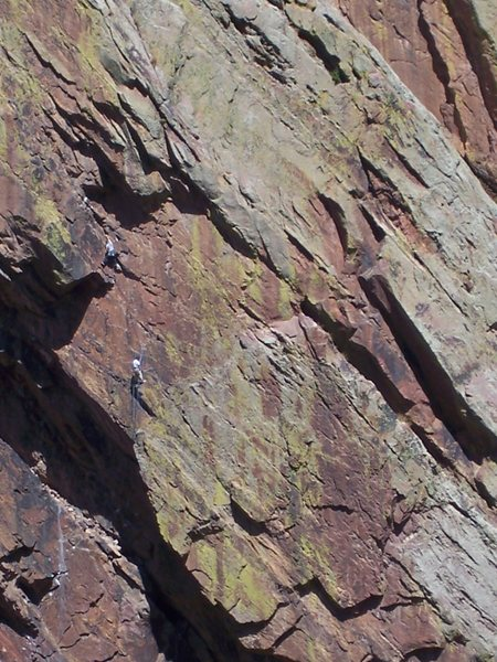 Rock Climbing Photo: Climbers on Love Minus Zero, Eldorado Canyon, phot...