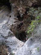 Rock Climbing Photo: Mirjam starting up Culo De Merlin.