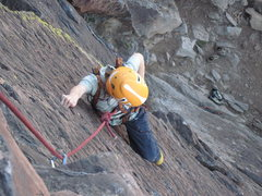 Rock Climbing Photo: Cody (6) cleaning gear, approaching the dreaded RO...