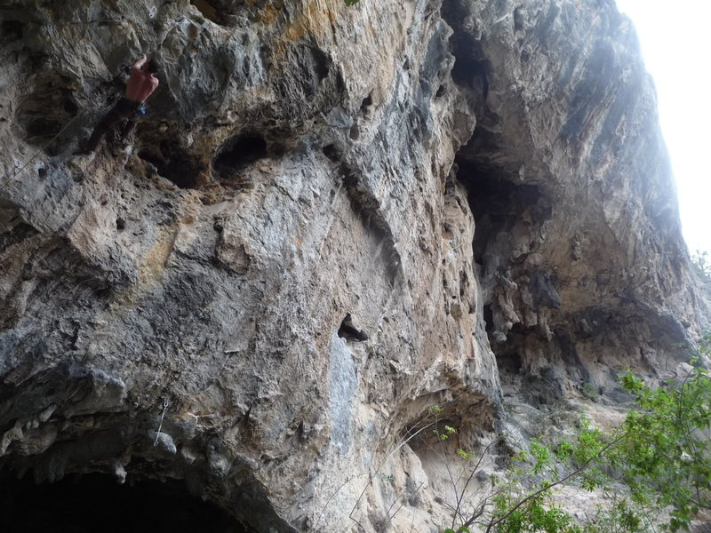 Rock Climbing Photo: Looking right from in front of the main cave towar...