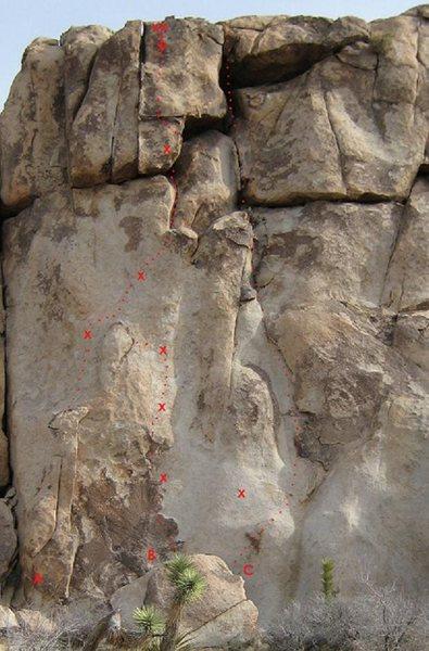 Rock Climbing Photo: A. Toiling Midgets 5.10a/b * B. Palm Pilot 5.10d *...