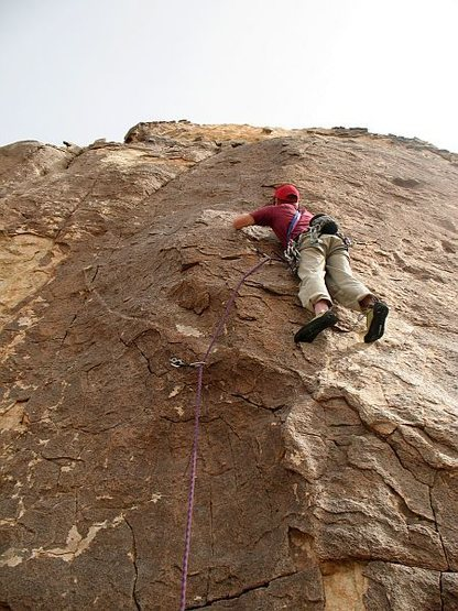Will at the 2nd bolt on Mauna Loa (5.9), Joshua Tree NP