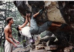 Rock Climbing Photo: Rob Drysdale spotting on FA of Down with the Bass,...