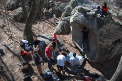 A group of beginning climbers try out the Scoop