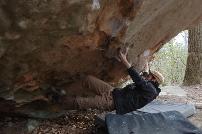Rock Climbing Photo: Marc takes a swing on this tricky problem