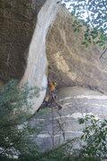 Rock Climbing Photo: Eddie Medina mid-crux on the FA