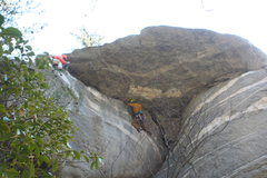 Rock Climbing Photo: Full Scholarship goes left under the roof.  Our ne...