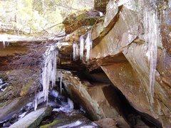 Rock Climbing Photo: Frozen falls near the Dog Walk area.  Feb. '09.