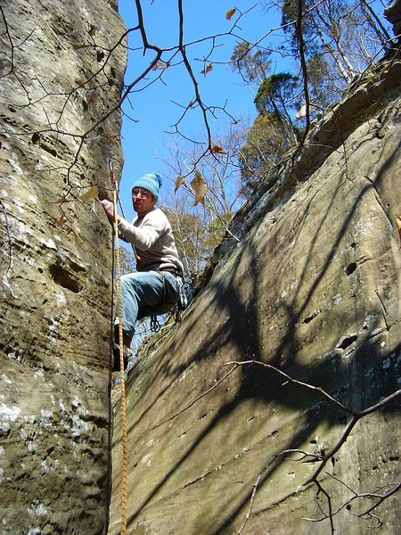 "Steve sending the superb route ""Lovely Arete"".  All time classic, cool and varied moves in an amazing setting.  Feb. '09."