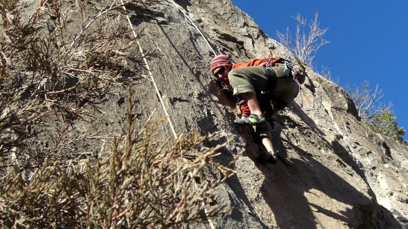 """For me, the crux was getting through the crack before I was too pumped and trying to reach the super bomber hold right above it with my 5'9"""" stature."""