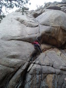 Rock Climbing Photo: Beginning the undercling takes a little nerve, sin...