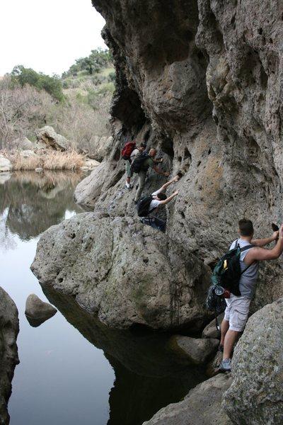 Rock Climbing Photo: Malibu Creek the traverse into the Stumbling Block...