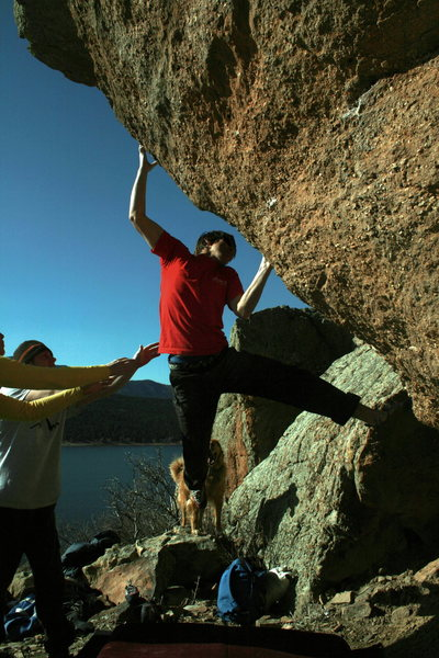 Rock Climbing Photo: Matty G desperately holds on to the arete.
