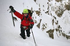 Rock Climbing Photo: Climbing the East Couloir of Hallett Peak in RMNP