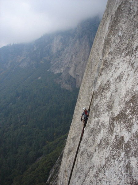 Rock Climbing Photo: Kevin Stricker leading Hollow flake pitch