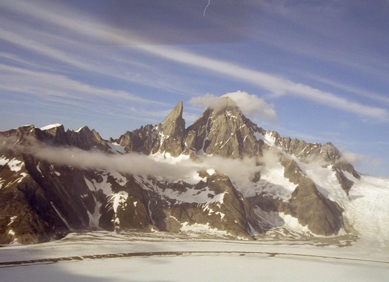 Rock Climbing Photo: Burkett Needle (L) and Mt Burkett (R) from the air...