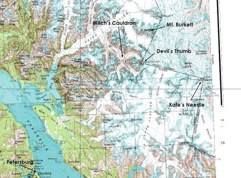 Map of the Stikine Ice Cap with key landmarks indicated.