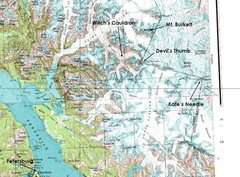 Rock Climbing Photo: Map of the Stikine Ice Cap with key landmarks indi...