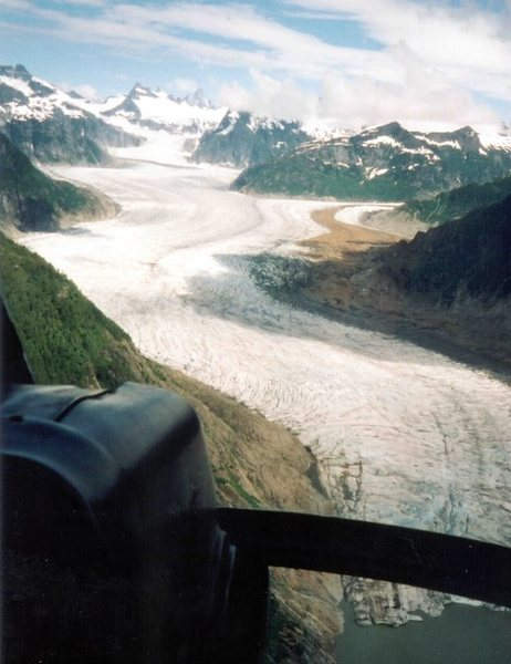 Flying over Thomas Bay, approaching the Patterson Glacier.  The Thumb is visible on the horizon.
