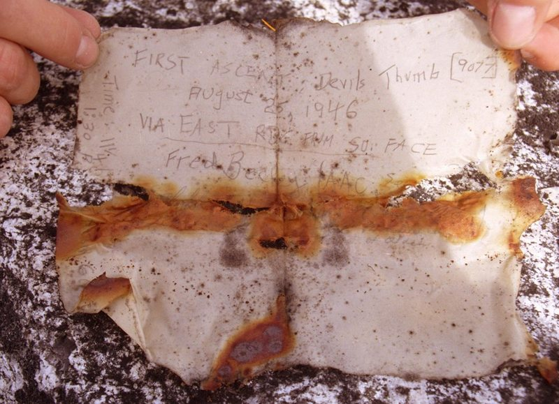 Rock Climbing Photo: Fred Beckey's original summit register from 1946. ...
