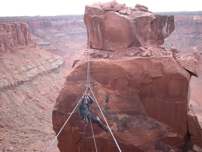 Rock Climbing Photo: Sam Lightner on the tyrolean back to the rim.