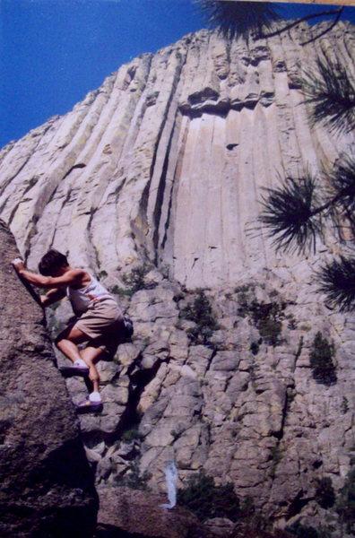 Bob Horan bouldering at Devil's Tower, Wyoming