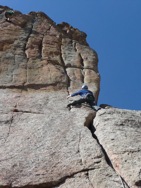 Rock Climbing Photo: Joe starting the delicate, rp-protected seam on Ed...
