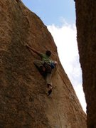 Rock Climbing Photo: moving left to where the route gets its name.